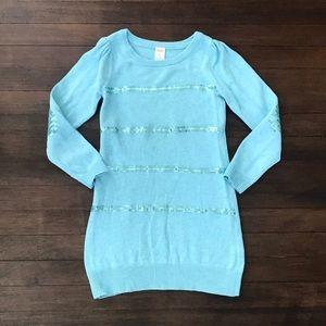 Girls Light Blue Gymboree Sequined Sweater Dress